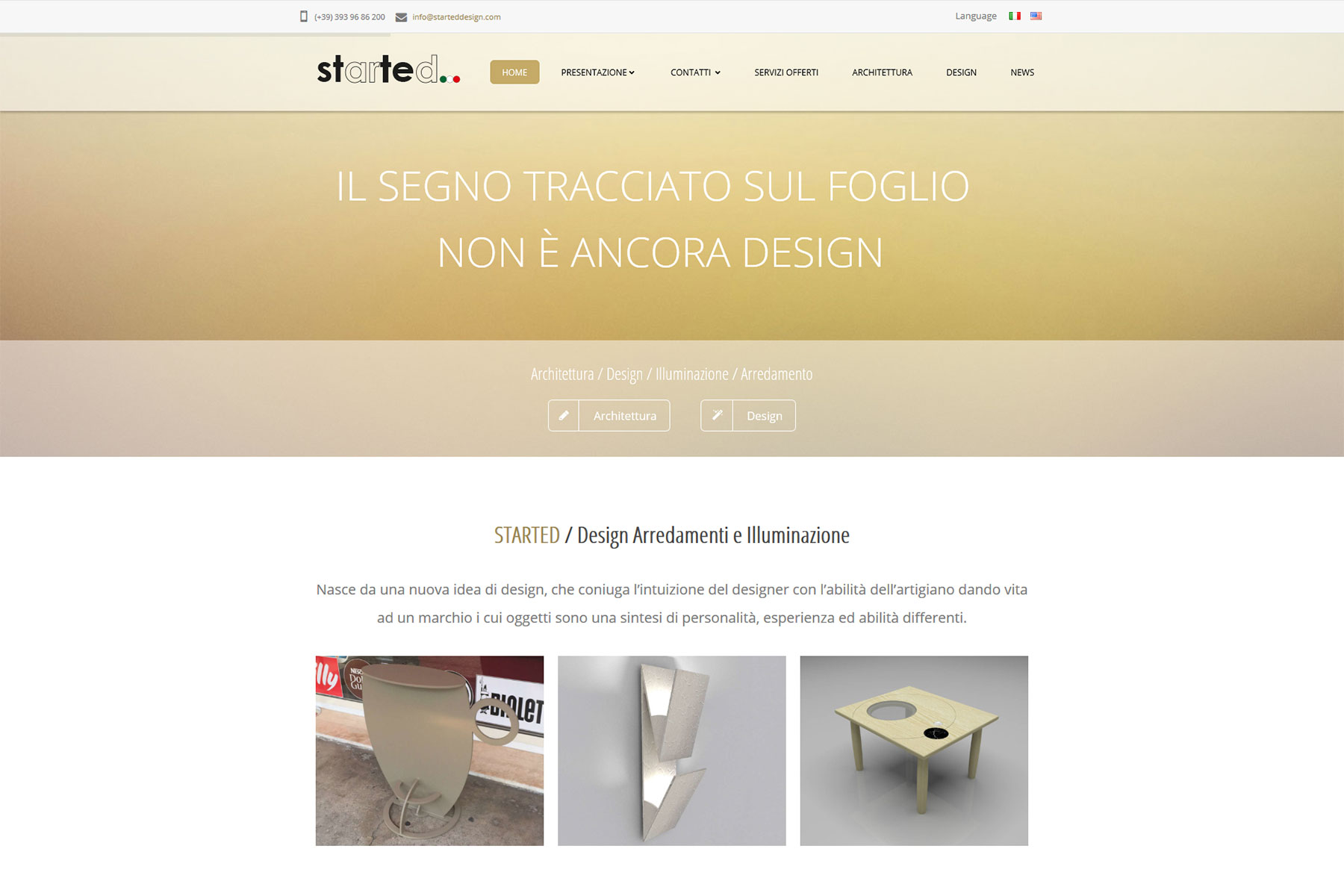 Sito web started design monselice padova xplay agenzia for Siti design interni